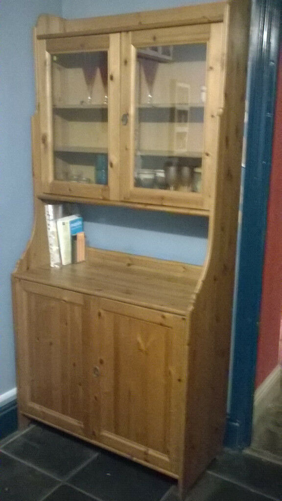Ikea Leksvik Solid Pine Antique Stain Dresser Kitchen Display Cabinet