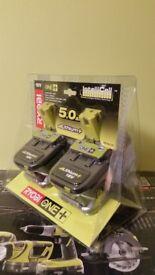 Ryobi ONE + 18V 5.0Ah battery - twin pack brand new