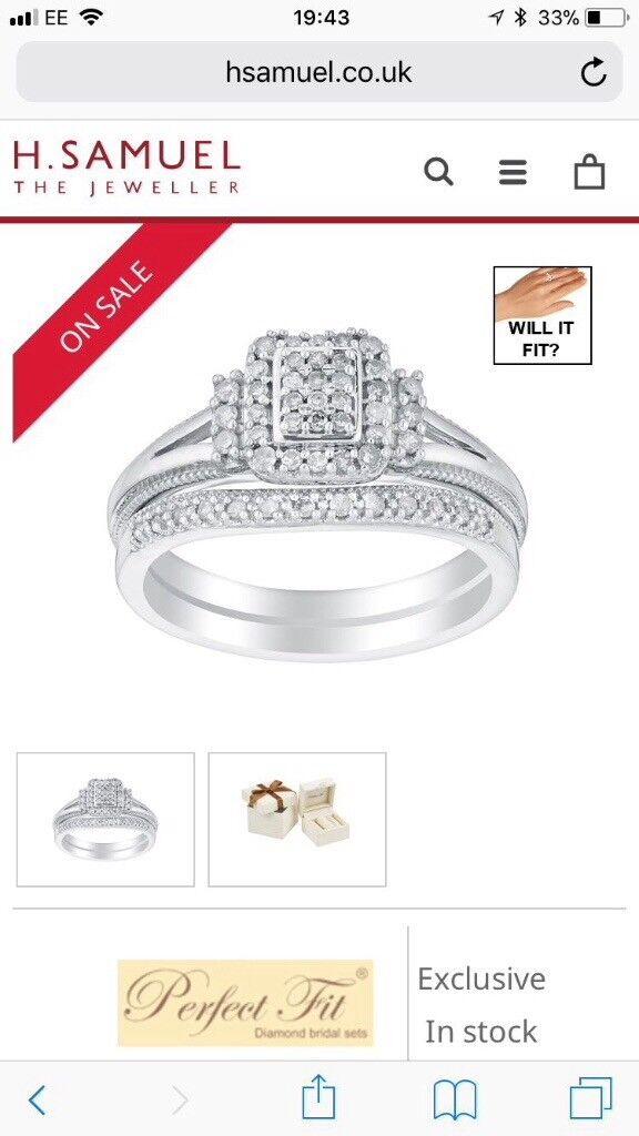 Argentium Silver Diamond Bridal Ring Set In Redditch