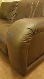 Brown leather dfs sofas and footstool