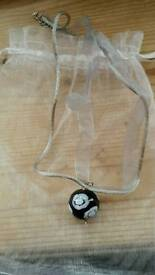 New Handmade Black/White Bead Pendant on dusky grey adjustable organza necklace. Ideal gift.