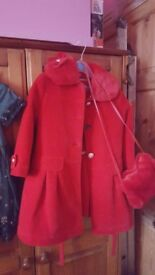 Its a girls red dress with coat and hand wormer bag 4to5 year old
