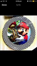 Super Mario party plates, napkins and singing candle