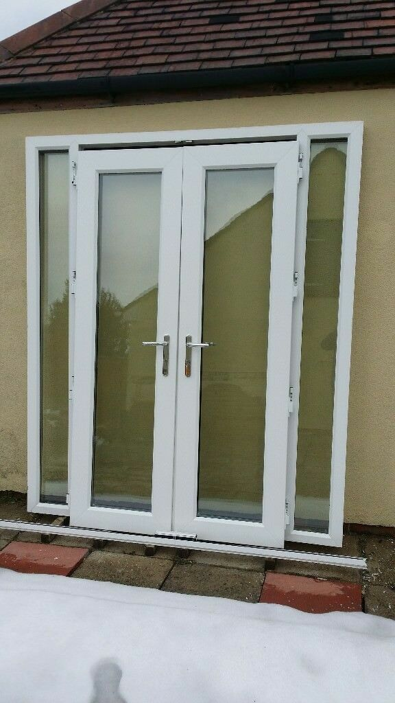 Upvc French Patio Doors With Side Windows Vgc New Double Set