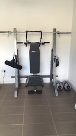 Various BODYMAX items: Walk-in squat rack, barbell kit and incline/decline bench