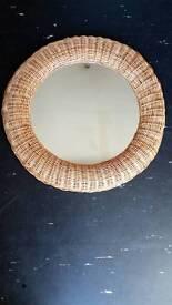 25 inch diameter wickerwork mirror