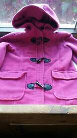 Girls 9-10 years duffle coat for winter. Bright pink. Satin lined.