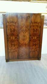 Attractive Burl Wood Triple Armoire