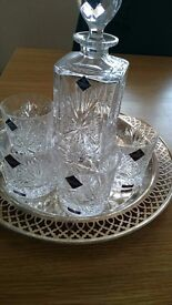 Lovely Star of Edinburgh Crystal Old Fashioned Decanter, Glasses & Tray Set