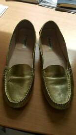L. K. Bennett gold loafers size 42