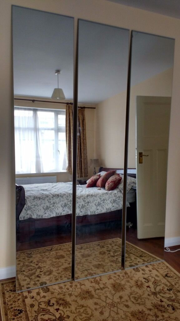 Three ikea vikedal mirror wardrobe doors 50x229cm one has for Vikedal anta specchio