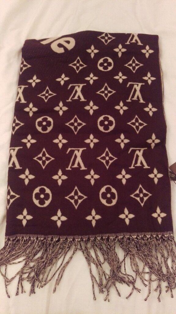 100 Authentic Louis Vuitton X Supreme Cashmere Monogram Scarf Brown BNWT
