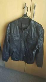Leather Biker jacket. Mint, worn once, Xl.