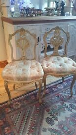 Pair of Antique French 19C Gilt Boudoir Chairs