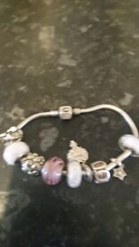 Chamilia charm bracelet with original chamilia charms