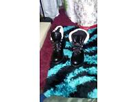 Black Fur Trim Boots Size eight