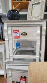 New grey white nest of 2 side table