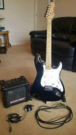 Encore Stratocaster and Roland Microcube Amp