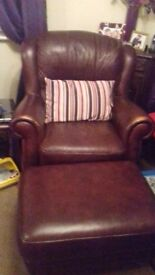leather three seater and chair and puff