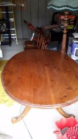 Wooden dining table and 3 chairs