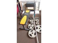 Olympic weights 145kg with 7ft bar and sit up bench
