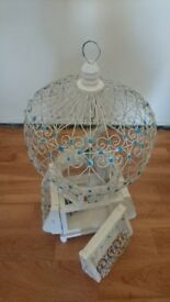 Birdcage, Bird Cage, Hand made, Mediterranean design, White and blue. Artistic look.