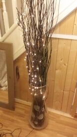 Tall vase with light up twigs