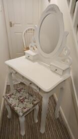 Make up table with chair, mirror and drawers