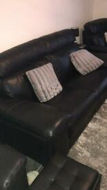 Leather suite 3 seater plus 2 single arm chairs plus tables / lamps/ poof