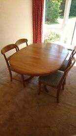 Teak Extending Dining Table & 4 Chairs