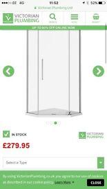 Brand new 900x900 frameless hinged shower cubical