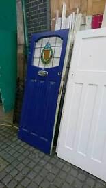 Classic Victorian Lead Light Painted Pine Front Door.32 x 80