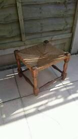 Rush topped oak framed stool