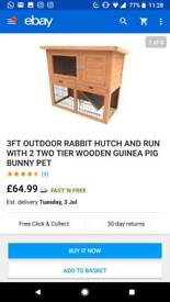 Rabbit / Guinea pig hutch WITH COVER.