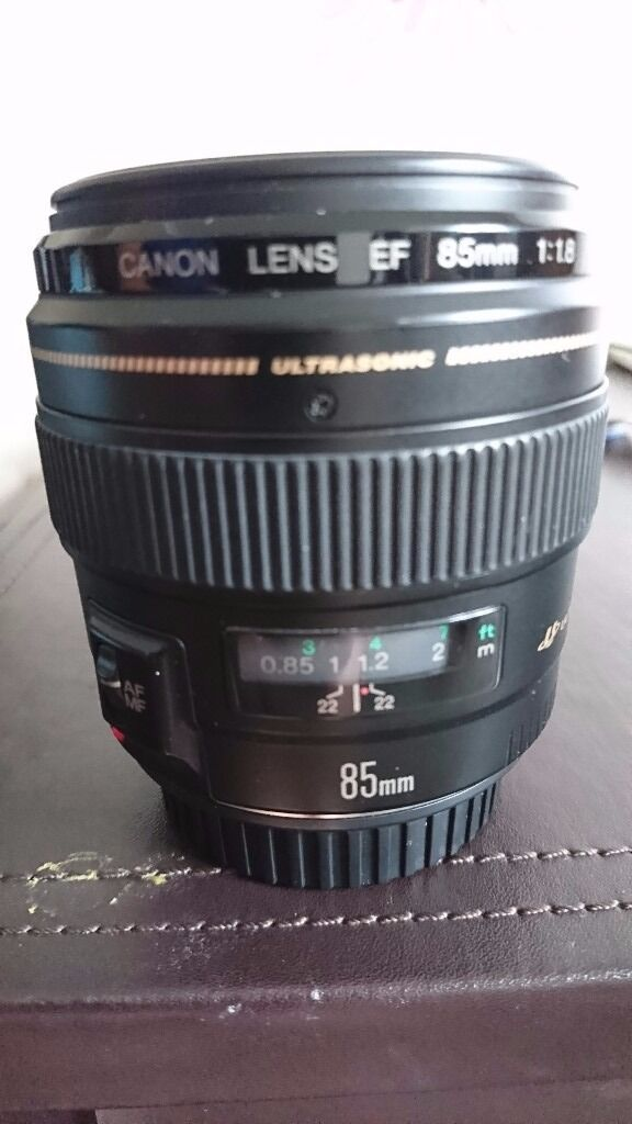 Canon lens EF 85MM 1 1.8in Leicester, LeicestershireGumtree - Selling my Canon lens 85mm 1.8 no longer being used Very good condition Comes with both lens caps Scratch and mark free Does not come with Box but always has been stored in camera bag Any other questions just ask Thanks