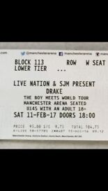 2 x Drake Tickets Manchester 11th February Boy Meets Girl Tour