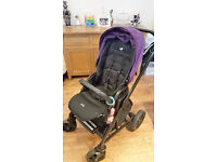 Joie Purple Pushchair with Car Seat and ISOFIX.