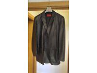 """Hugo Boss Red Label Black Leather Jacket (L/42"""")"""