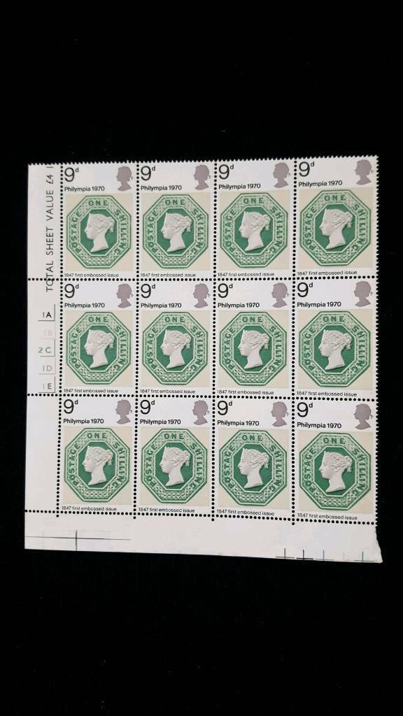 BLOCK OF 12 PHILYMPIA 1970 9d STAMPS