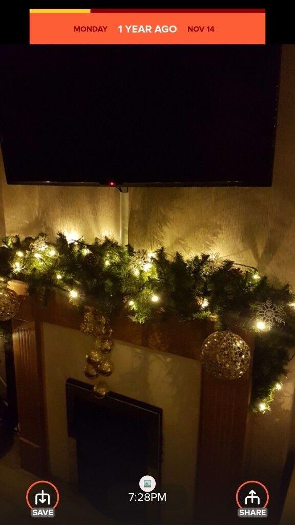 stunning christmas garland with decs amd lights