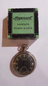Pocket Watch Ingersoll Radiolite antique working with box