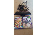 xbox 360 kinect sensor, 2 games, power supply.