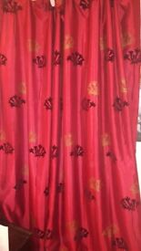 Curtains - 2 pairs of red colour lined with flock prints, 90 inch drop