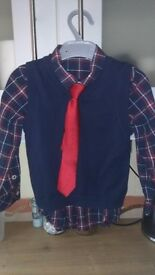 Boys H&M navy and red shirt, tie and vest set, both ages 2-3 & 3-4