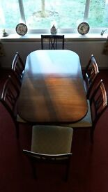 Strongbow Regency Extending Mahogany Dining Table & 6 Chairs