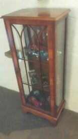 Yew Wood Glass Cabinet for sale. Good condition,