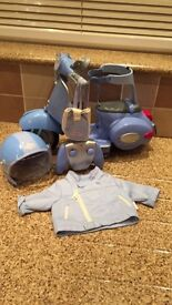Baby born blue doll remote control city scooter