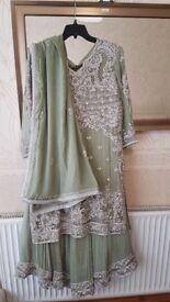 Asian Indian Pakistani Wedding Party Walima Function Dress OLIVE GREEN 703 CODE