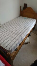 Single pine bed, excellent condition