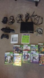 Microsoft Xbox 360 S with Kinect 250 GB Black Console with 9 games *BARGAIN*